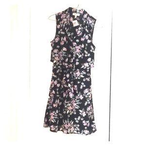 NWT s floral dress, part button front & waist tie